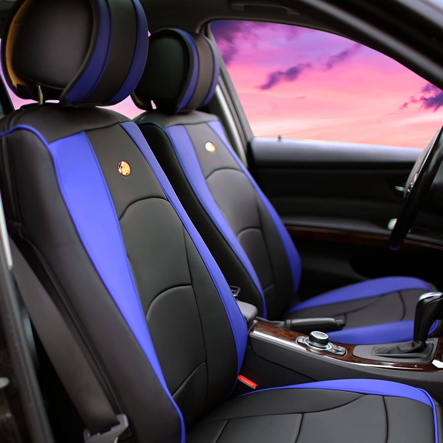 FH Group PU205BLUEBLACK102 PU205102 Ultra Comfort Leatherette Front Seat Cushions (Airbag Compatible) Blue and Black