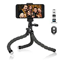 Flexible Phone Tripod, Camera Tripod Octopus Tripod Mini Travel Tripod with Bluetooth Remote for phone & Android Phones, Cameras, GoPro