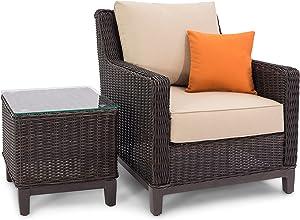 Sierra Outdoor Patio Furniture Brown Lounge Chair and Side Table, Sunbrella Cushion