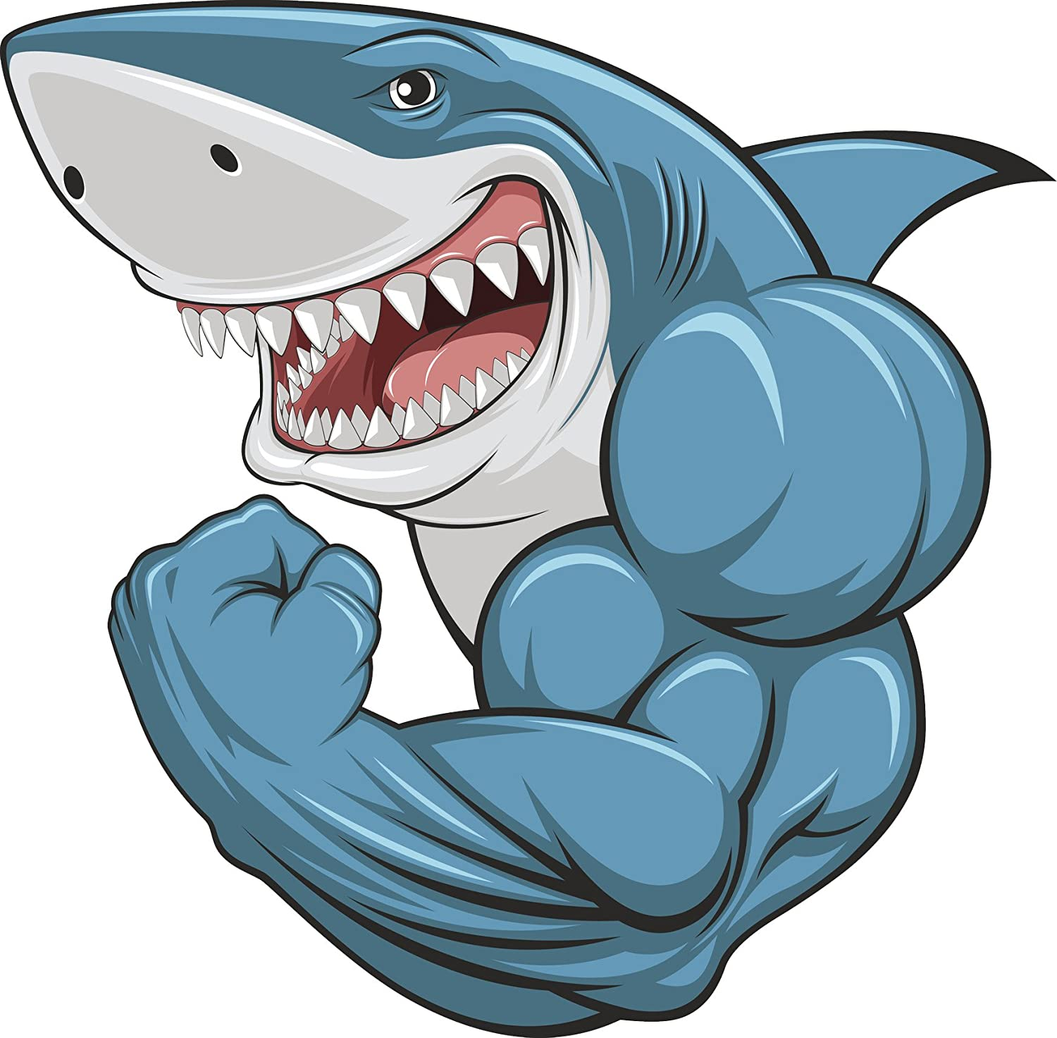 Amazon Com Buff Muscular Scary Smiling Great White Shark Cartoon
