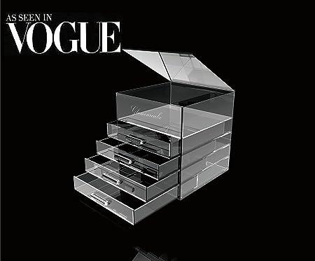 Glamour Living - Estuche para maquillaje (acrílico), diseño de cubo, transparente: Amazon.es: Hogar