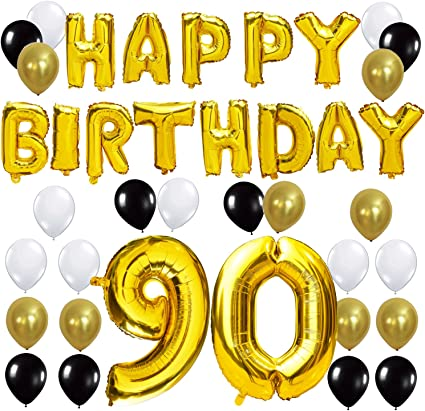 Any Colour 90th Birthday Party Helium Balloons Ribbons /& Weights Decoration Kit