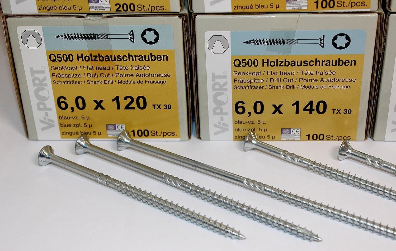 100 St/ück Holzbauschrauben Senkkopf Torx TX 30 6,0 x 40-6,0 x 160 mm 6,0 x 80