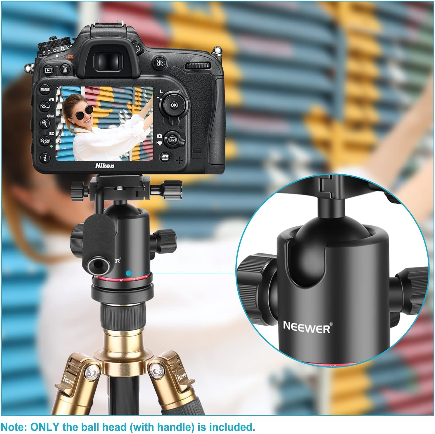 Camcorder 360 Degree Panoramic Head for Tripod Load up to 17.6 pounds//8 kilograms Slider Neewer Heavy Duty Camera Tripod Ball Head with Handle and 1//4 inch Quick Shoe Plate DSLR Camera Monopod