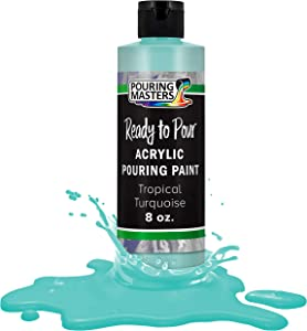 Pouring Masters Tropical Turquoise Acrylic Ready to Pour Pouring Paint – Premium 8-Ounce Pre-Mixed Water-Based - for Canvas, Wood, Paper, Crafts, Tile, Rocks and More