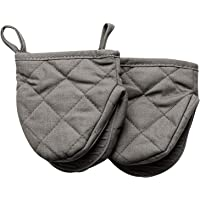 OKINDOLIFE Mini Oven Mitts, Hot Small Half Oven Mitts Sets,Grey Short Silicone Grabber Cooking Mitts Pair Heat Resistant…