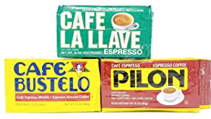Cuban Style Variety Ground Espresso Coffee 10 Ounce Vacuum Packed Bags, Cafe Bustelo, Cafe La Llave and Pilon (One Bag of Each)
