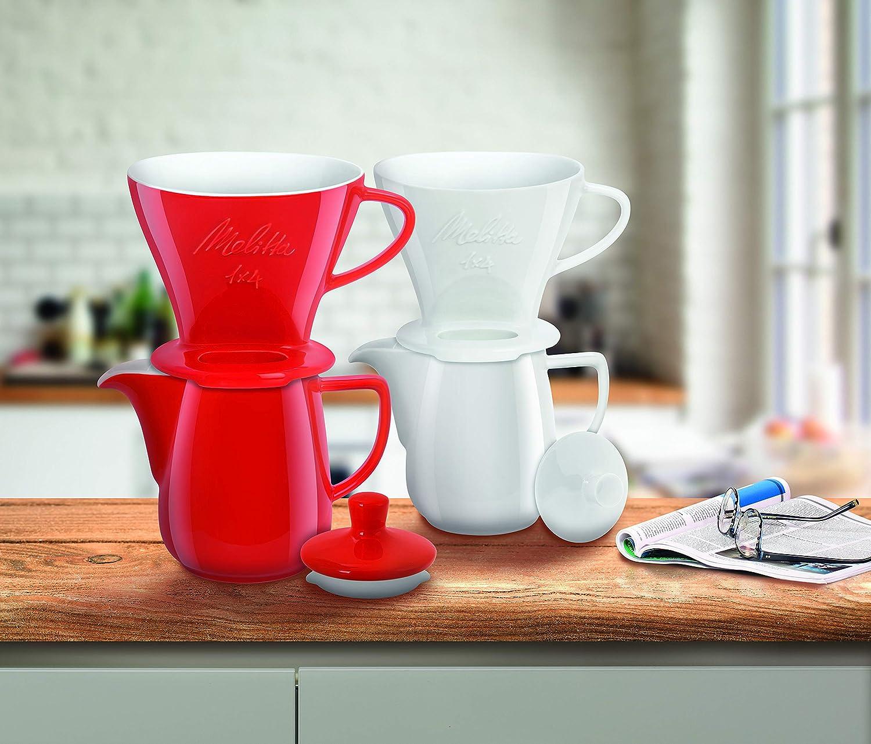 Blanc Pr/éparation de 4 /à 12 tasses Pour Filtre /à Caf/é 1x4 Melitta Porte-Filtre en Porcelaine