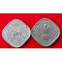 1954 - 2 Anna (Rare )- Bull Nickel - CIRCULATED Condition - India for School Children