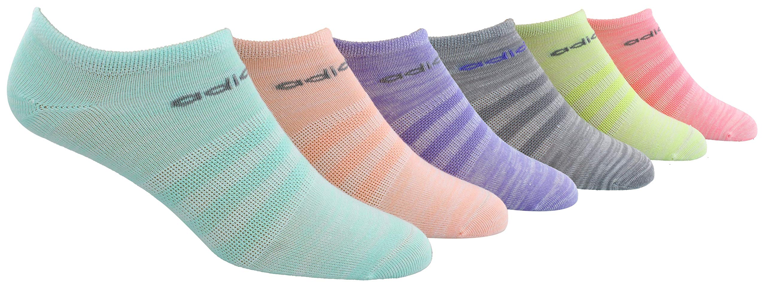adidas Youth Kids-Girl's Superlite No Show Socks (6 Pair), Easy Green/Light Flash Orange/Light Flash Purple/L, Large, (Shoe Size 3Y-9) by adidas