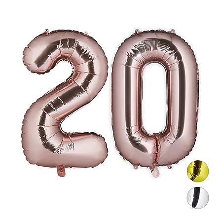 Relaxdays Globos de Cumpleaños Número 20, Aluminio, Oro Rosa, 85-100 cm