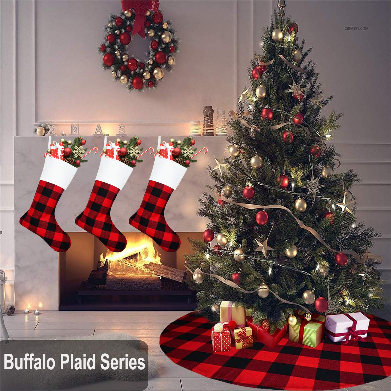 Christmas 18 inches Buffalo Plaid Classic Stockings Xmas Decorations for Family