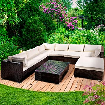 Amazon.de: Poly Rattan Gartenmöbel Lounge Möbel Sitzgarnitur ...