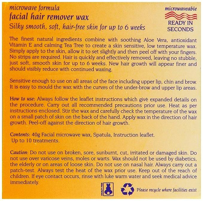 Recurso suave 40 g Microondas Fórmula Pelo facial removedor de cera: Amazon.es: Salud y cuidado personal