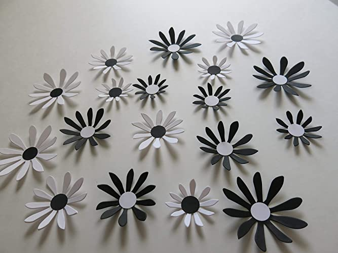 Amazon Com Black And White Daisies Set 18 Piece Big 3d Wall Decals