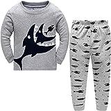 dizoon(ディゾン)[秋冬 シリーズ] パジャマ キッズ 男の人 子供 服 赤ちゃん服 ベビーTシャツ 綿100% 長袖 Tシャツ 上下セット 長ズボン 青 灰 可愛い 魚柄 1-12歳