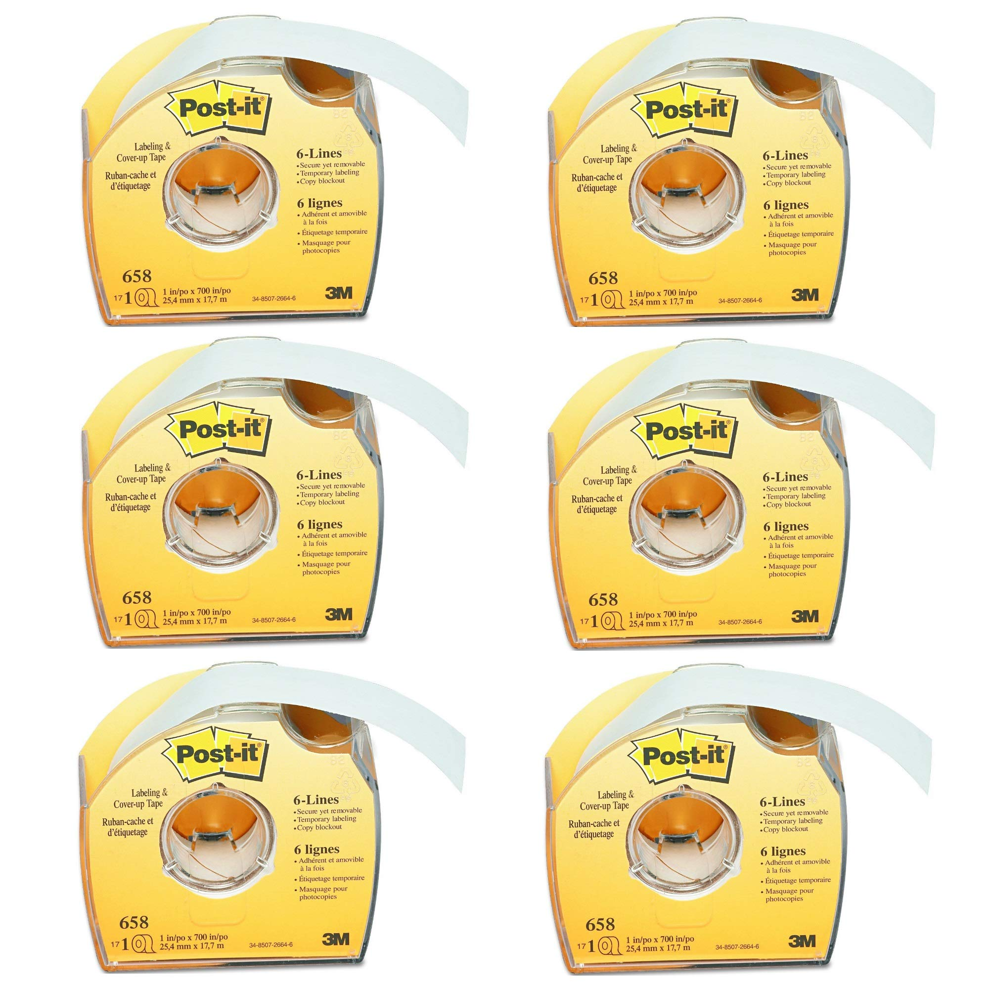 Post-it 658 Labeling & Cover-Up Tape, Non-Refillable, 1'' x 700'' Roll, 6 PACK