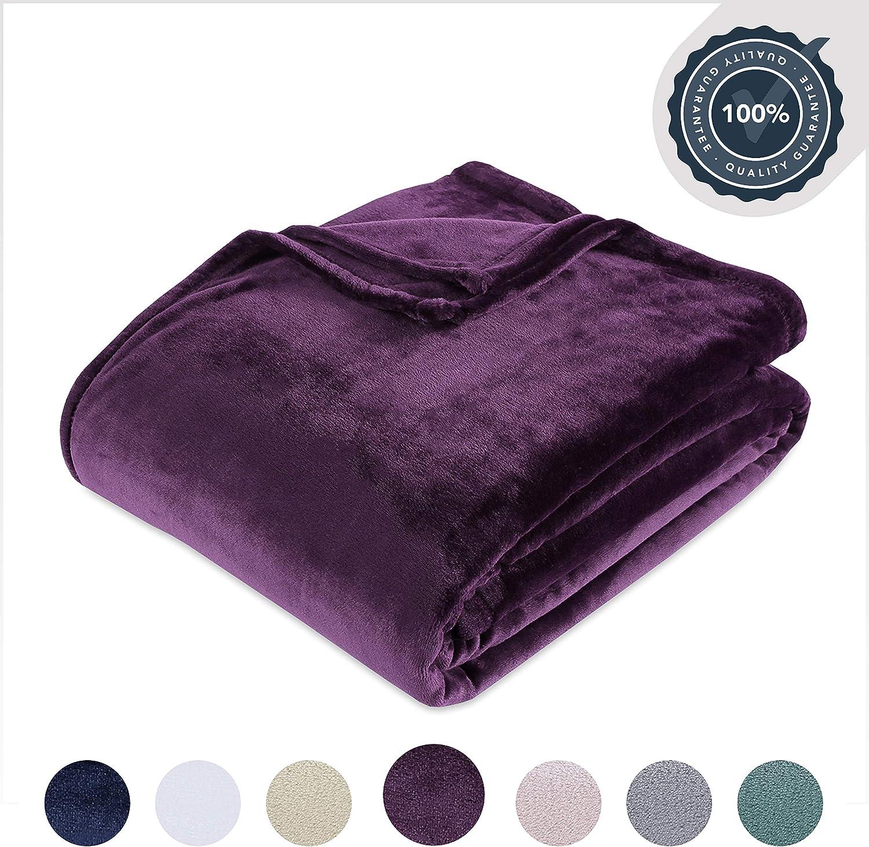 Berkshire Blanket VelvetLoft Ultra Soft Luxury Plush Blanket, Eggplant, King