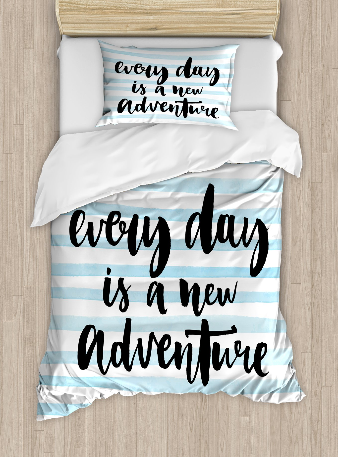 Ambesonne Adventure Duvet Cover Set Twin Size, Every Day is a New Adventure Quote Inspirational Things About Life Artwork, Decorative 2 Piece Bedding Set with 1 Pillow Sham, Baby Blue Black by Ambesonne