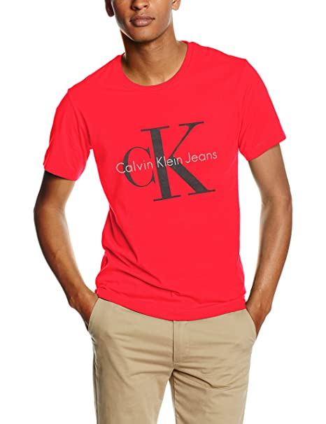f9b929c8c8e7 Calvin Klein Jeans Tee RE-Issue CN Regular Fit Tee SS-T-Shirt Uomo Rot  (Fiery Red-PT 629) X-Large: Amazon.it: Abbigliamento