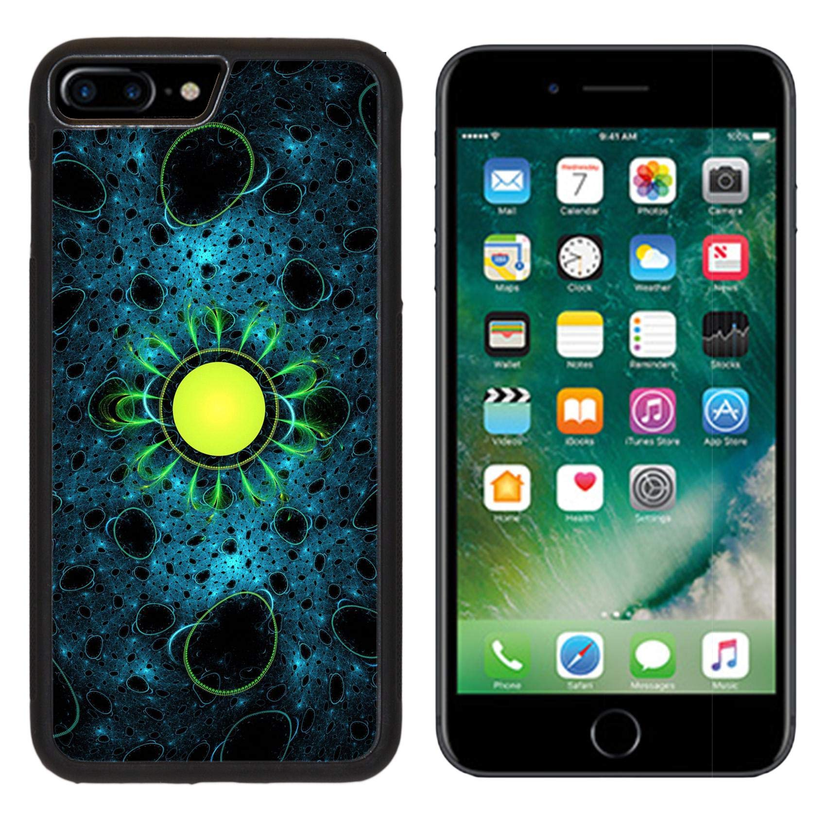 Luxlady iPhone 7 plus Case iPhone 8 plus Case TPU Silicone Bumper Shockproof Anti-Scratch Resistant Hard Tempered Glass Cover IMAGE ID: 25728677 Colorful bacterias abstract computer generated fractal