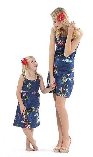 9541a8898a Matching Mother Daughter Hawaiian Luau Outfit Christmas Women Girl Dress  Navy Santa Flamingo  Amazon.co.uk  Clothing