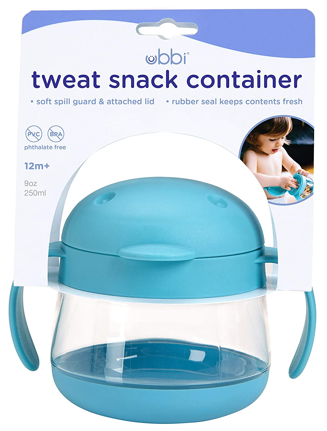 Blue 9 Ounce Ubbi Tweat Snack Container