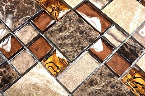 Piastrelle a mosaico transluzent beige marrone combinazione