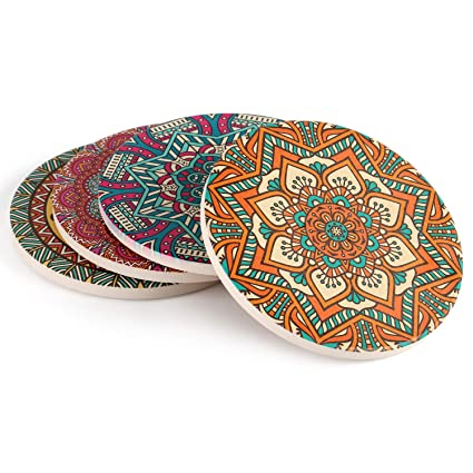 Coasters for drinks set funny absorbent with cork base, Absorbing Ceramic Stone Protect Furniture From Water Dirty and Scratched 4