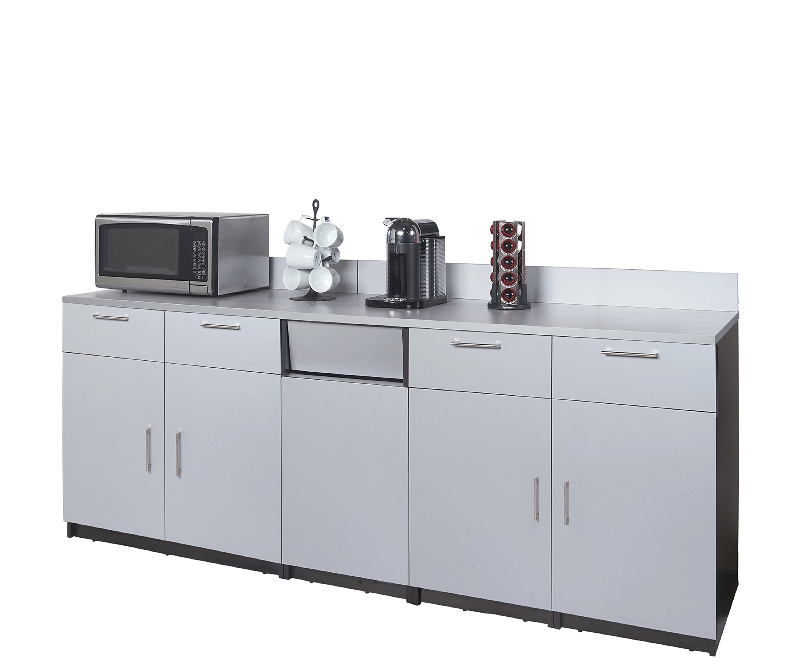 Coffee Kitchen Lunch Break Room Cabinets Model 4511 BREAKTIME 3 Piece Group Color Espresso/Silver Metallic - Factory Assembled (NOT RTA) Furniture Items ONLY.