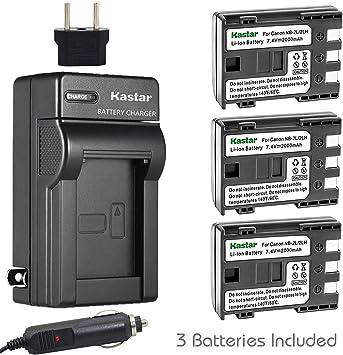 Wasabi Power Battery DC320 BP-2L5 80 FVM30 FVM20 400D HV 65 BP-2LH and Canon DC301 Elura 40 DC310 DC330 FVM100 FVM200 60 70 and Charger for Canon NB-2L EOS 350D HG10 90 DC410 50 DC420 FV500 85 NB-2LH Digital Rebel XT XTi 2-Pack