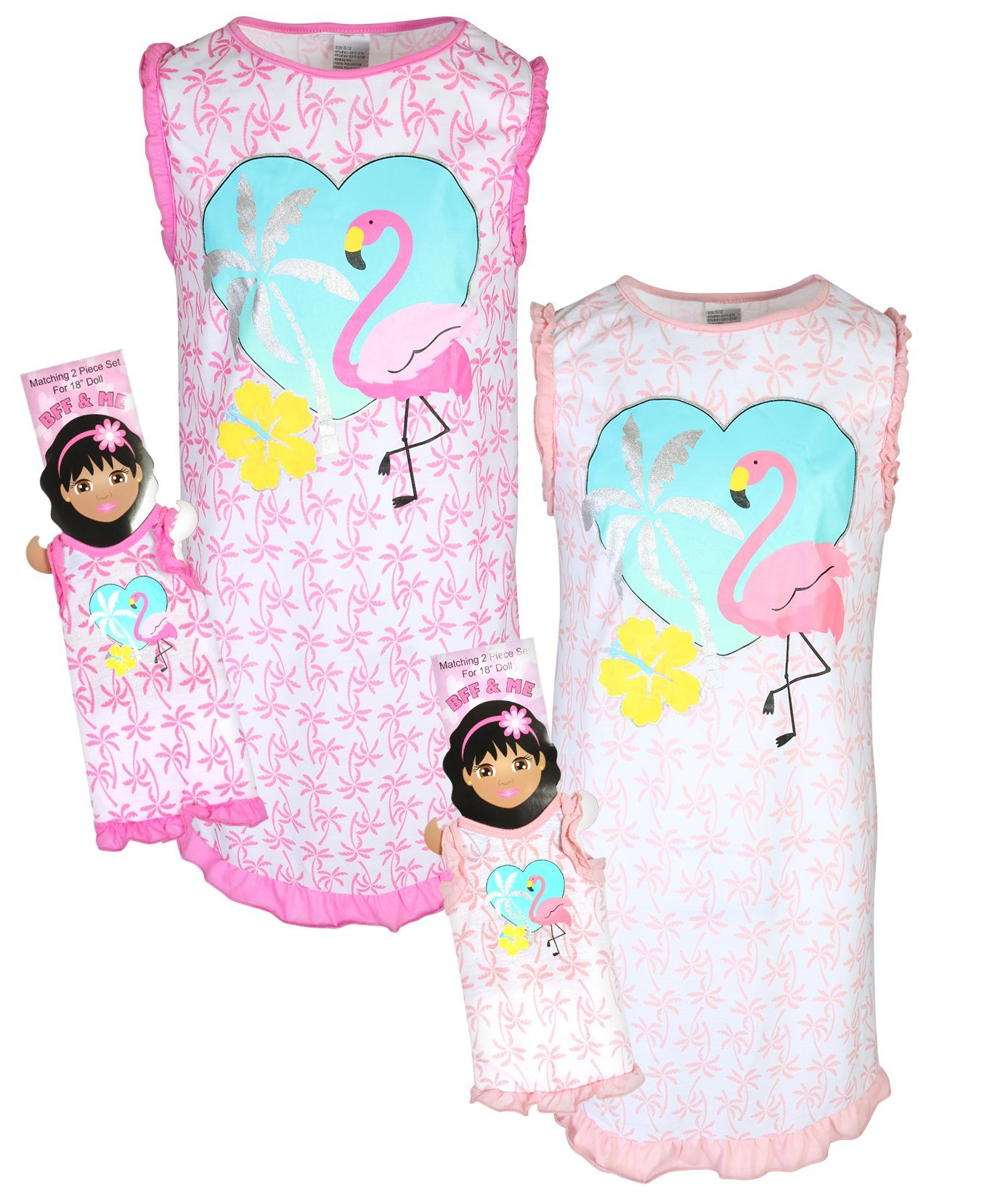 BFF & ME Girls Nightgown Pajama Set with Matching Doll Pajama (2 Pack), Flamingo, Size 7/8'