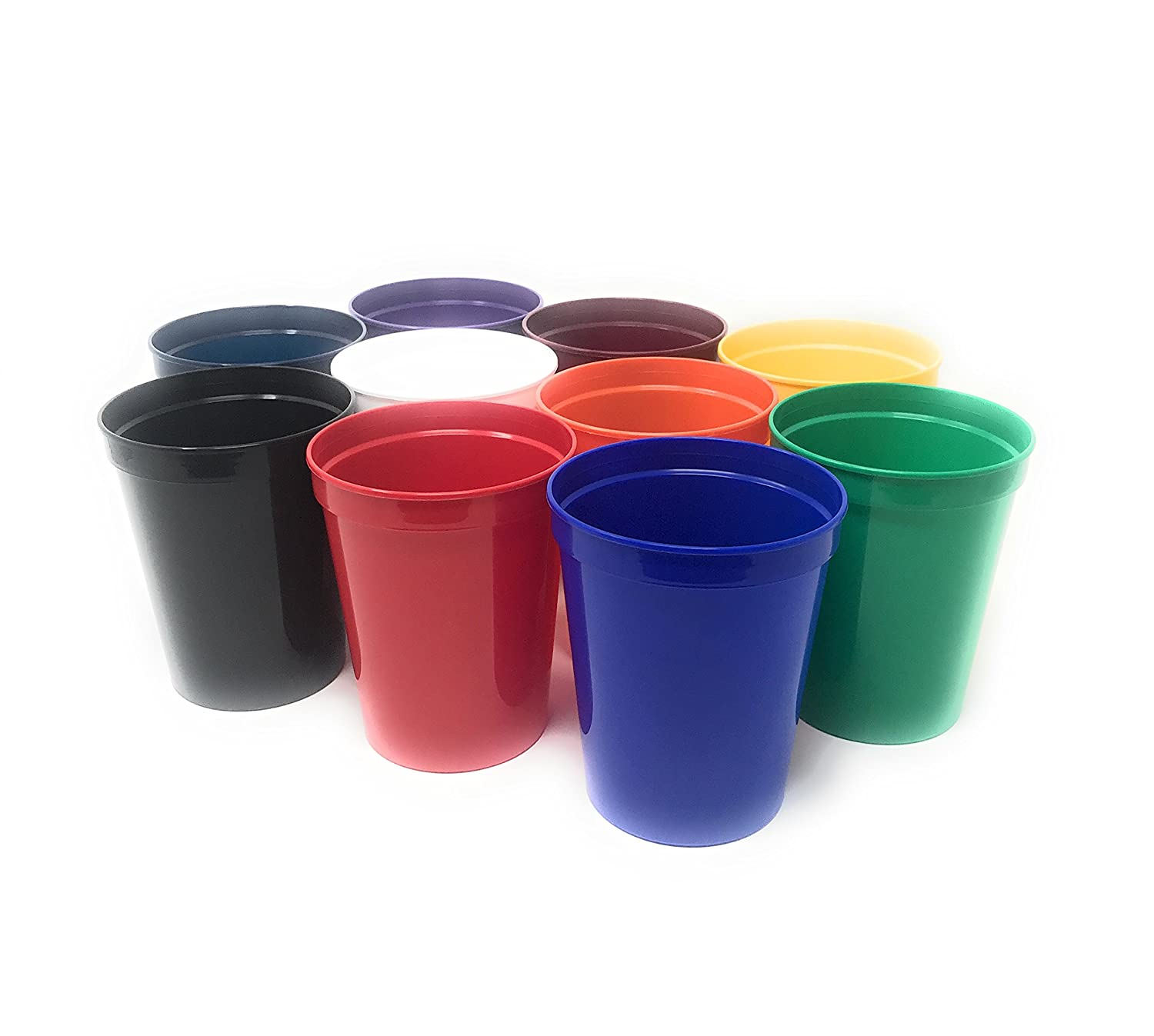 CSBD 10 Pack Blank 16 oz Plastic Stadium Cups Bulk Tumblers - Reusable or Disposable, Made In USA, Great For Customization, Monograms, Marketing, DIY Projects, Weddings, Parties, Events (10, Assorted)