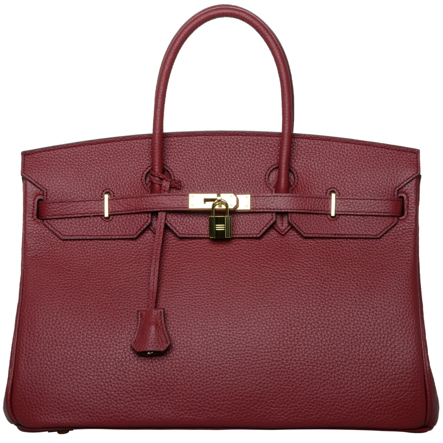 Cherish Kiss 40cm Oversized Padlock Business Office Top Handle Handbags (40cm with Gold Hardware, Burgundy with Burgundy color lining)