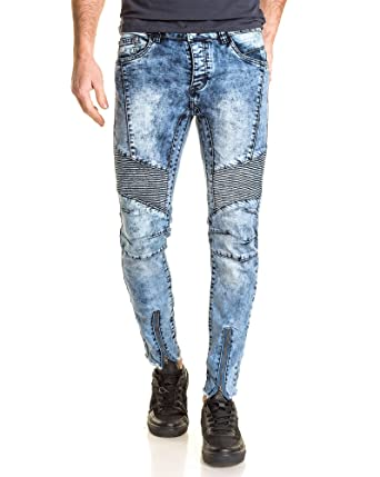 BLZ jeans - verblasste blaue Jeans Mann Reißverschlüsse Knöchel gerippt und  zerrissen - Color: Blau