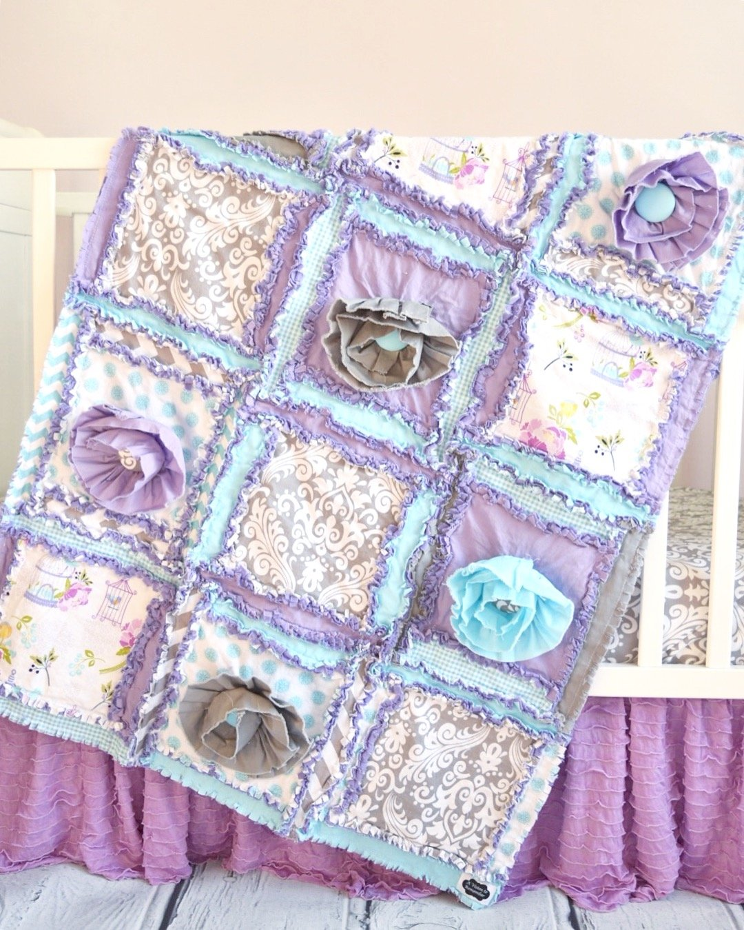Floral Baby Girl Crib Quilt - Purple / Aqua / Gray - QUILT ONLY