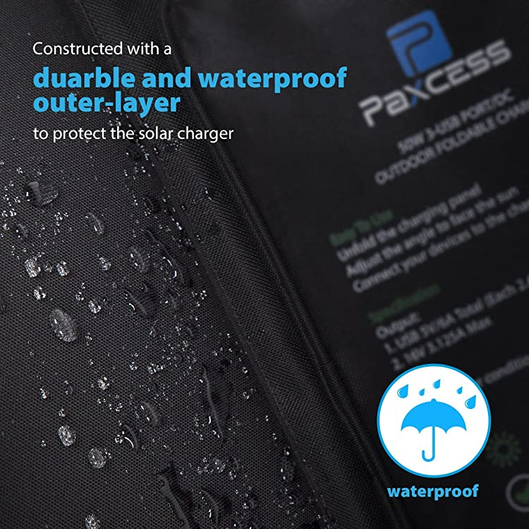 Made from durable Oxford cloth. The solar panel is water resistant to endure all weather conditions