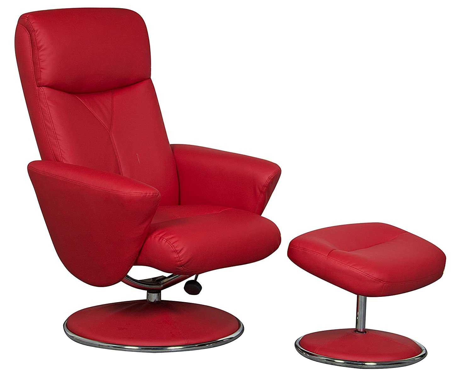 The Alizza   Leather Effect Swivel Recliner / Relaxer Chair In Red:  Amazon.co.uk: Kitchen U0026 Home