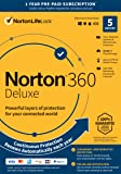 Norton 360 Deluxe – Antivirus software for 5 Devices with Auto Renewal - Includes VPN, PC Cloud Backup [Key Card]