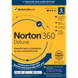 Norton 360 Deluxe 2021 – Antivirus Software for 5 Devices with Auto Renewal - Includes VPN, PC Cloud Backup & Dark Web Monito