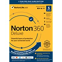"""Norton 360 Deluxe €"""" Antivirus Software for 5 Devices with Auto Renewal - Includes VPN, PC Cloud Backup & Dark Web Monitoring Powered by LifeLock [Key Card]"""
