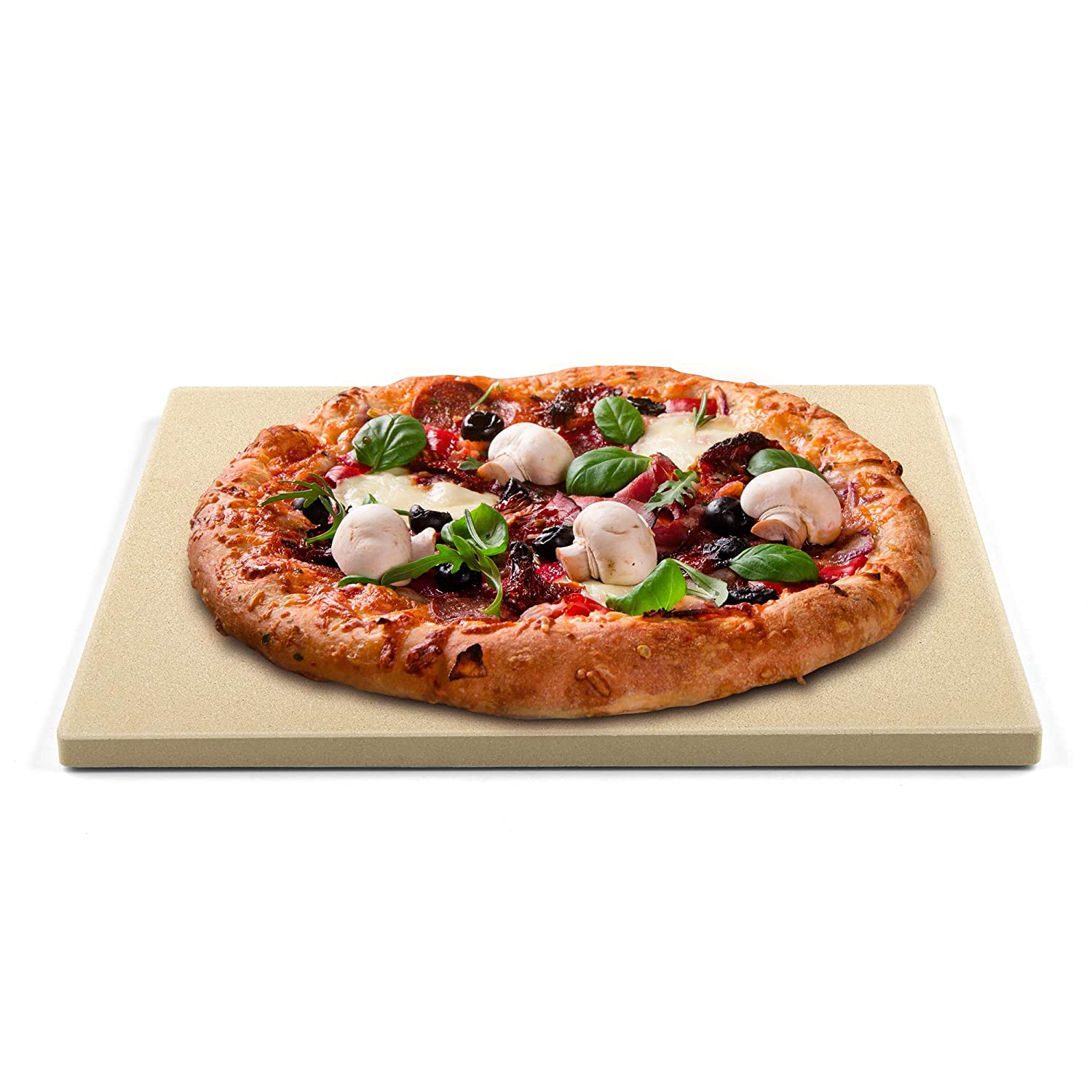 Cook N Home 02663 Pizza Grilling Baking Stone, 16-inch x 14-inch rectangular x 5/8-inch thick, Cream