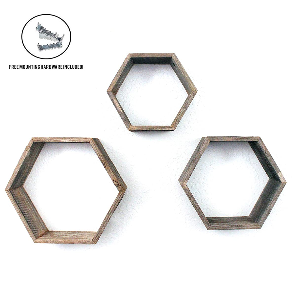 BarnwoodUSA | Rustic Farmhouse Floating Hexagon Shelves | Made of 100% Reclaimed and Recycled Wood | Open Shadow Box Style to Display Pieces or Show Off by Themselves | Weathered Gray