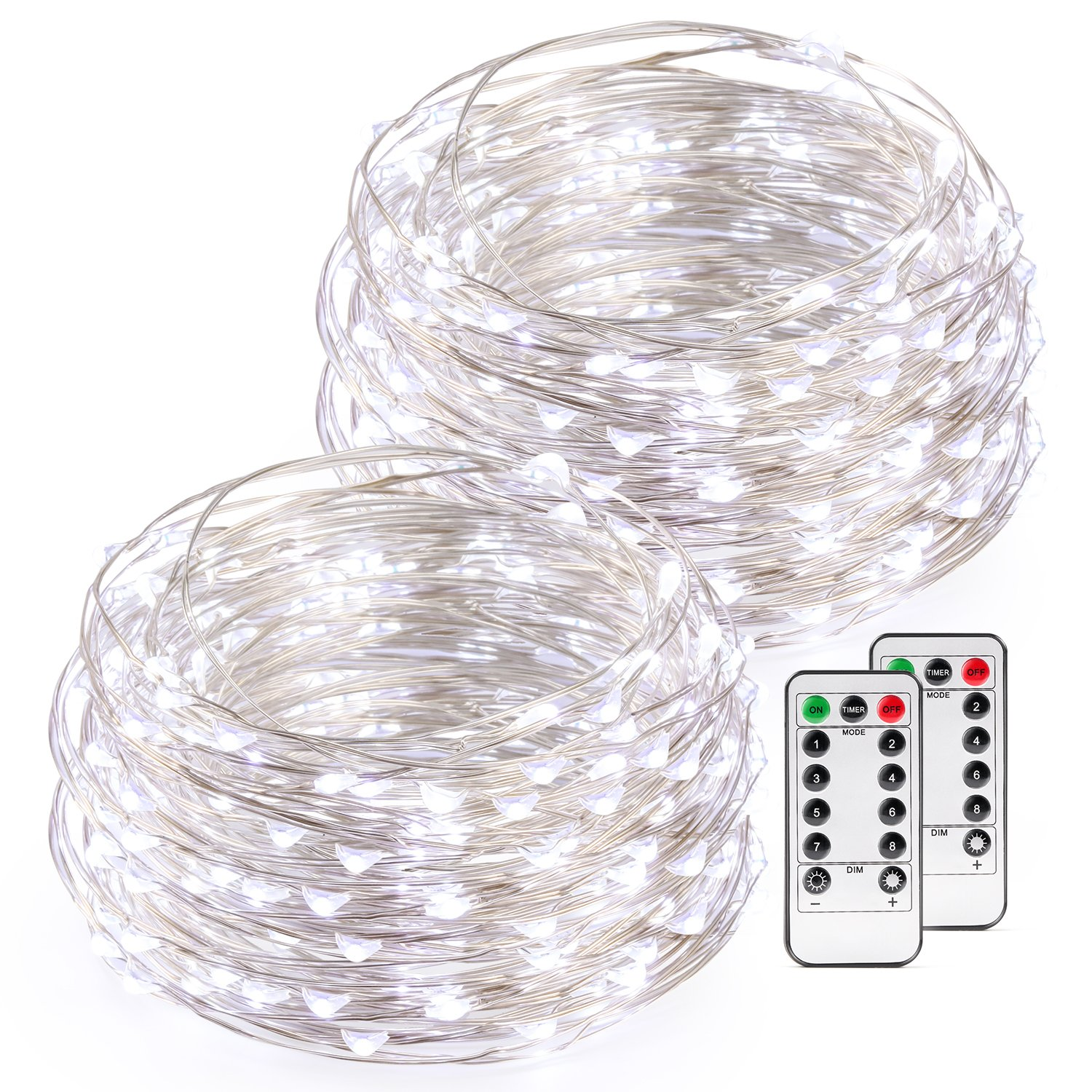 Kohree String Light Daylight White Remote Control Battery Operated Waterproof 8 Modes 50 LED 16.4ft/5M Silver-Coated Copper Wire Firefly Rope Lights 2 Packs