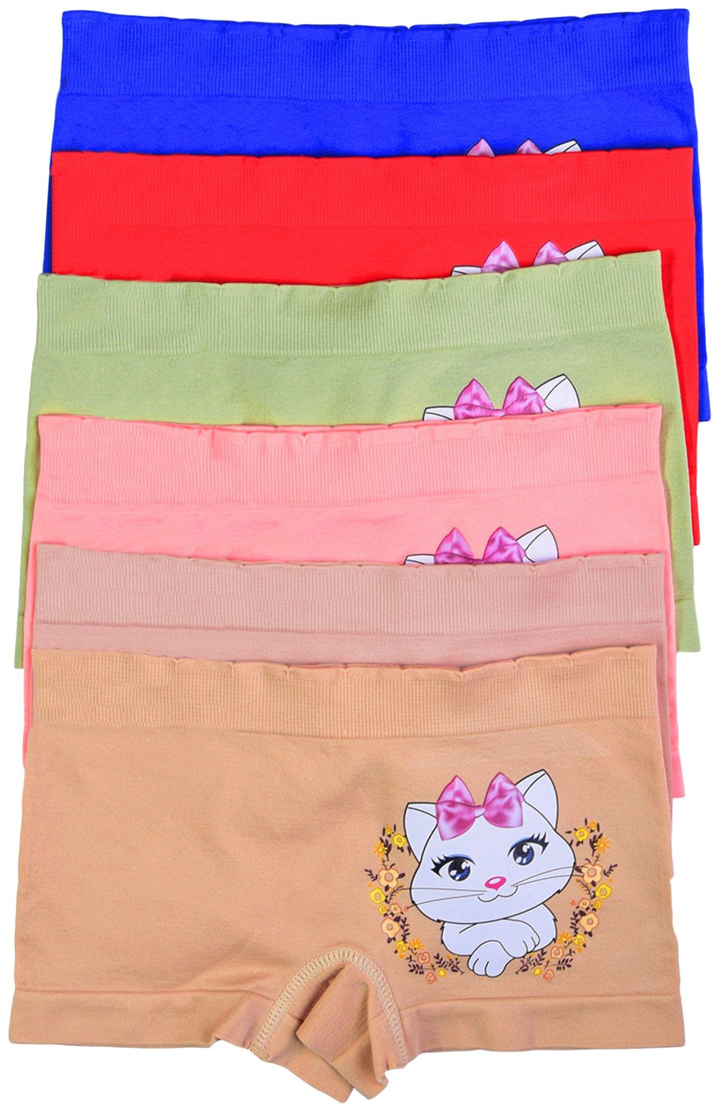 ToBeInStyle Girls' Pack of 6 Pretty Kitty Print Seamless Boyshorts - M
