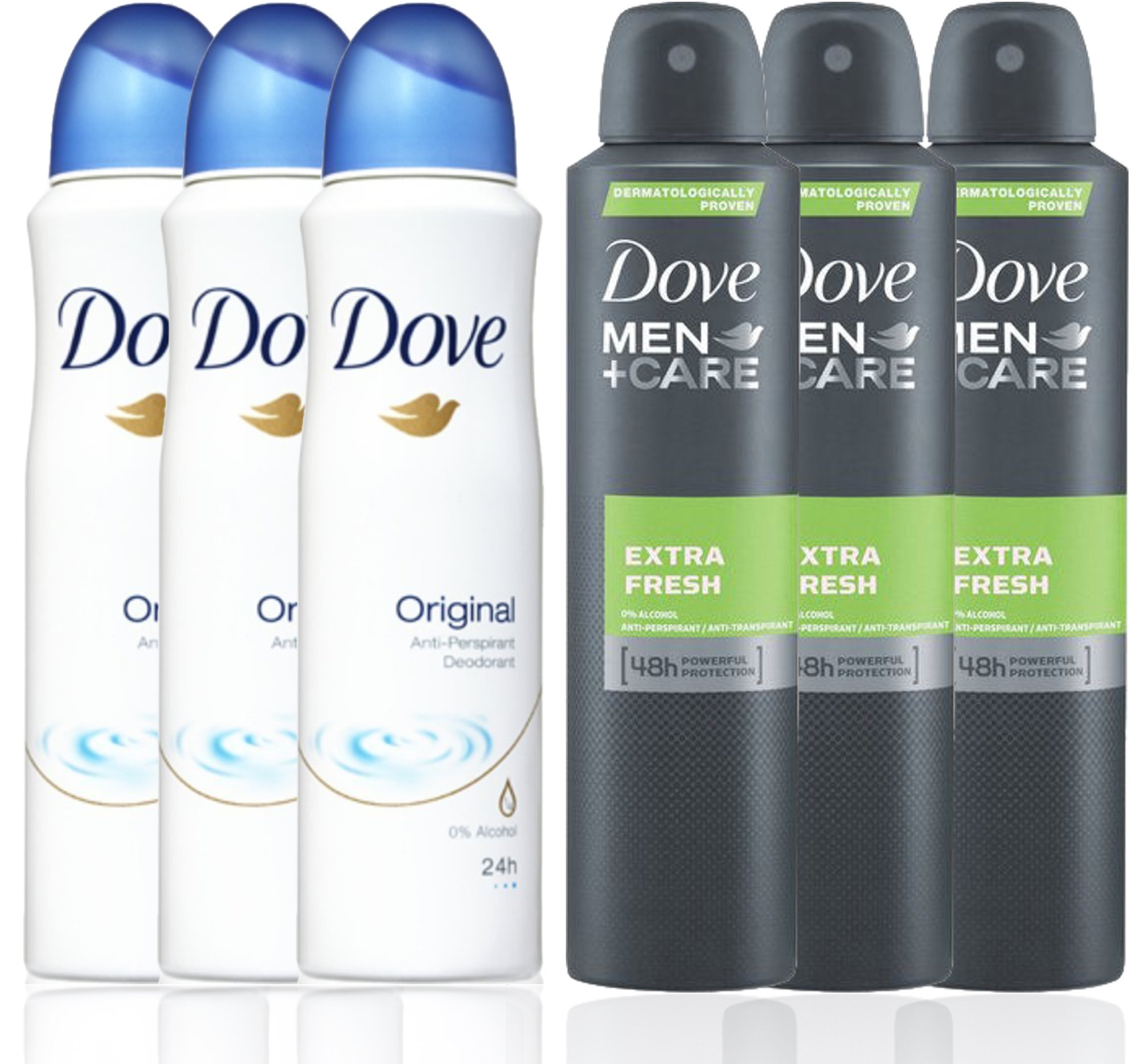 3 Bottles Dove Anti-Perspirant Deodorant Original & 3 Bottles Dove Men + Care Extra Fresh Spray Deodorant 48hr 150ML / 5.07 Oz - (Total 6 Bottle Pack)