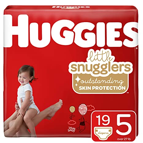 Jumbo Pack 27+ lb. 19 Ct Size 5 Huggies Little Snugglers Baby Diapers Packaging May Vary