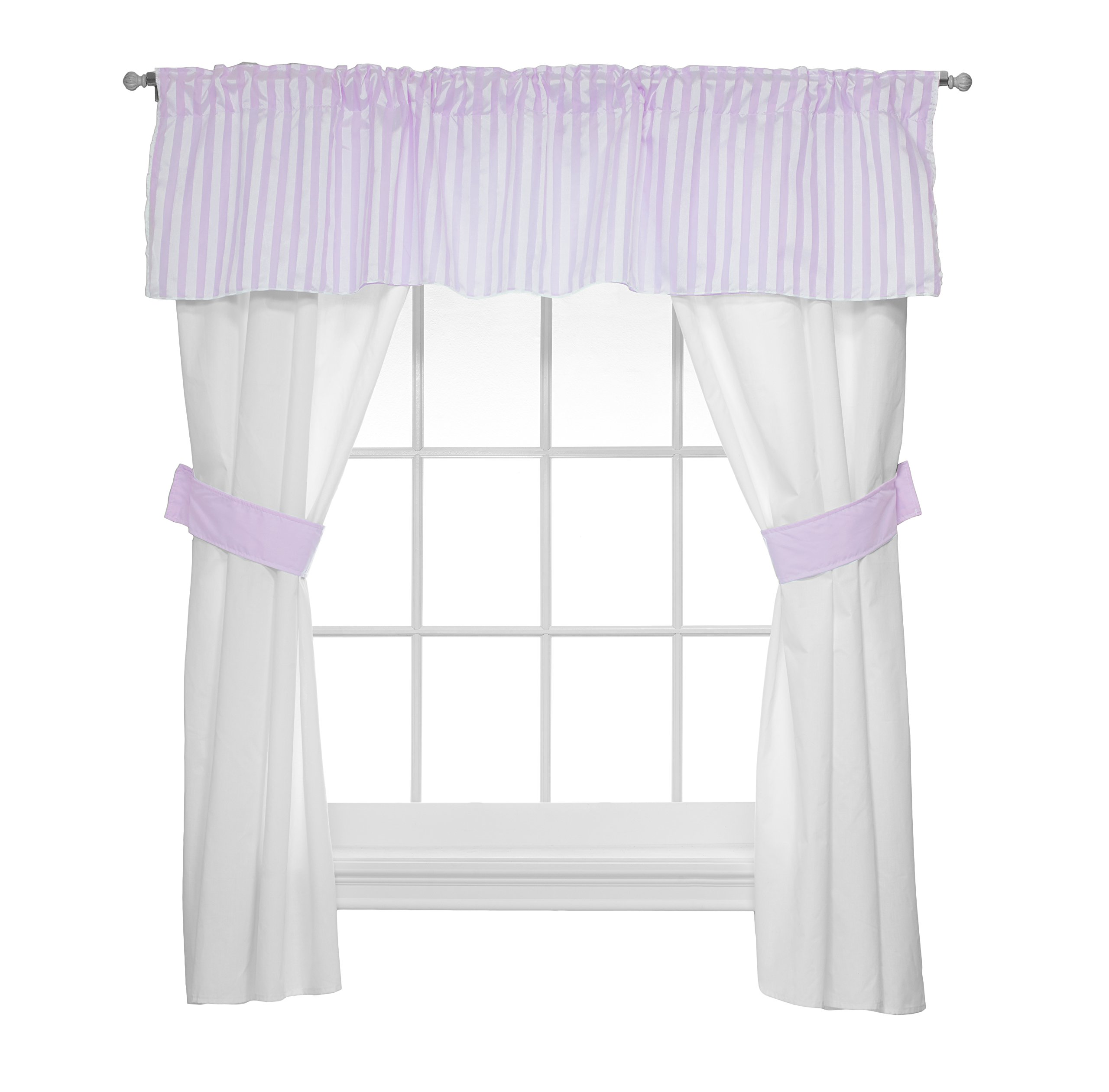 Baby Doll Candyland 5 Piece Window Valance and Curtain Set, Lavender