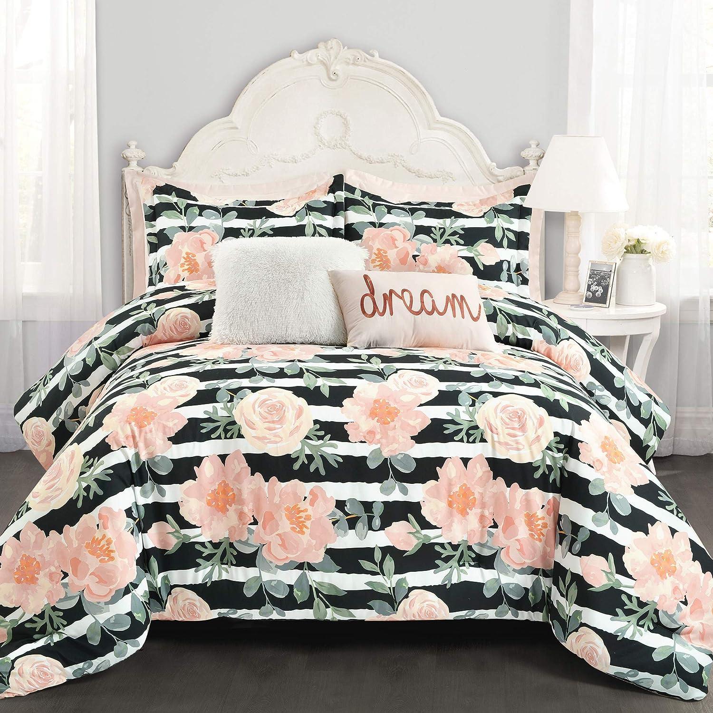 Lush Decor Amara Watercolor Rose 7 Piece Comforter , Black & Dusty Rose, Full Queen