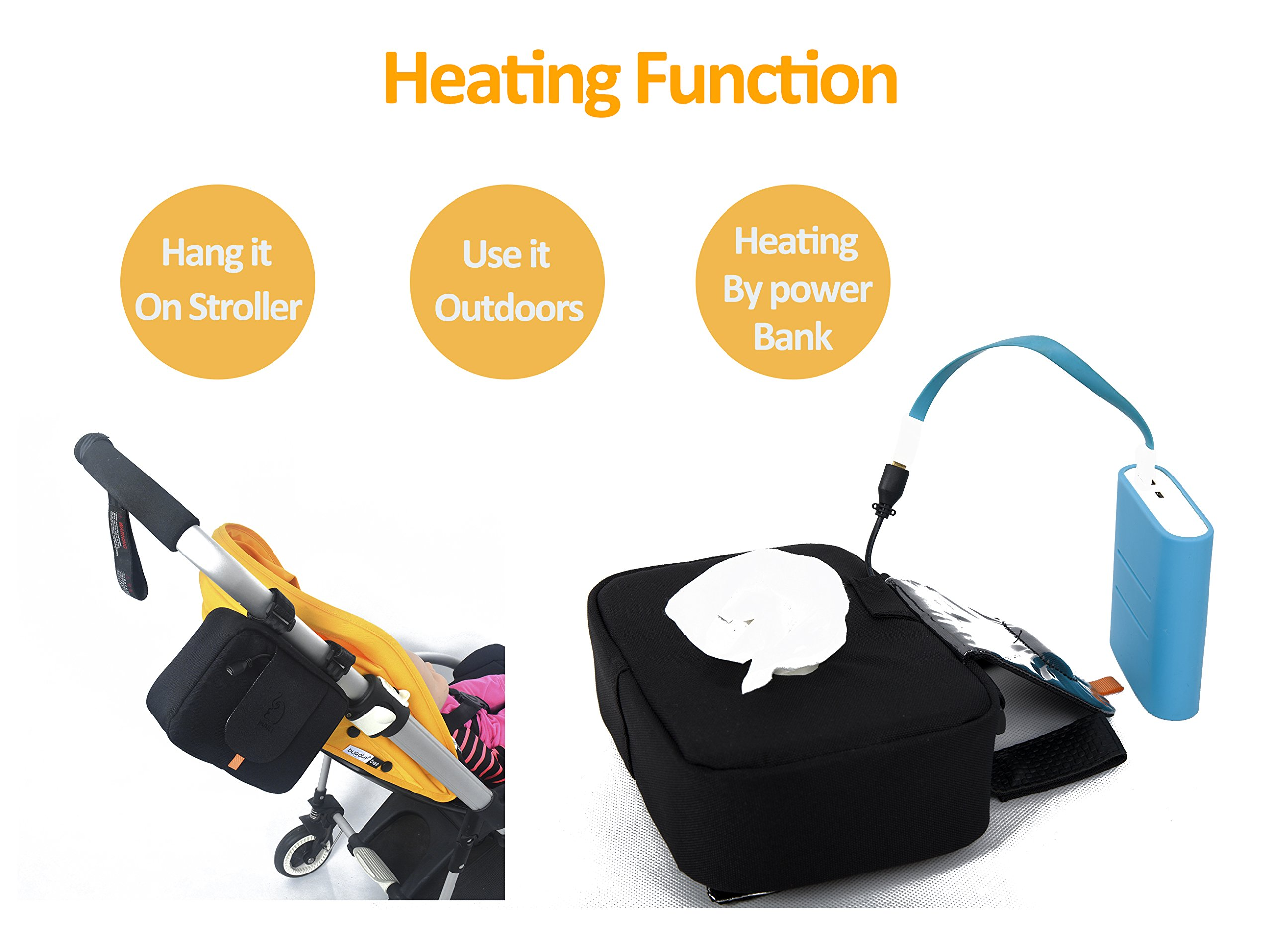 Puuli Indoor or Outdoor Wipes Warmer by Power Bank Cleanx Thermal Insulation Storage Holder For Bugaboo Stokke Quinny Inglesina Stroller by Puuli (Image #2)